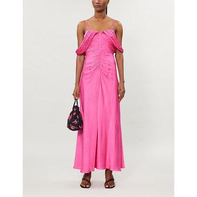 Off-the-shoulder satin-crepe midi dress