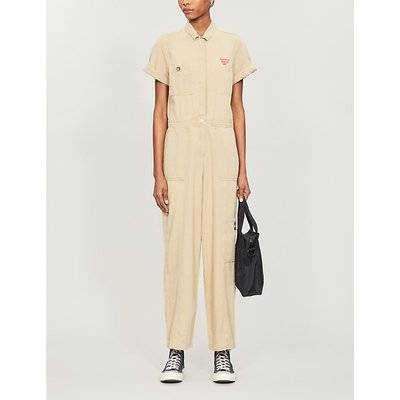 Logo-tab relaxed-fit cotton jumpsuit