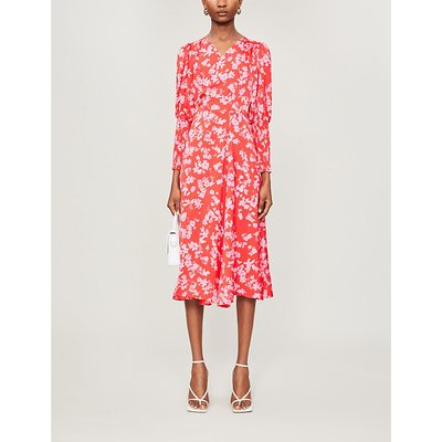 Victoria floral-print satin wrap dress