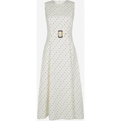 Belted linen-blend midi dress