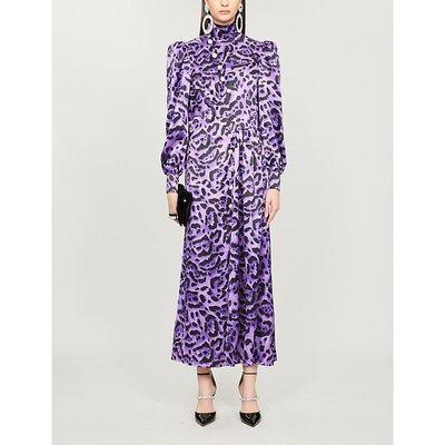 High-neck leopard-print silk-satin midi dress