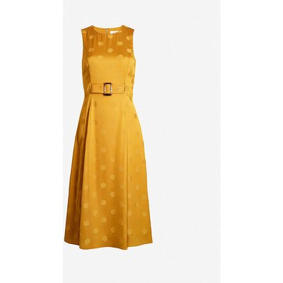 Innabel polka-dot satin-crepe midi dress