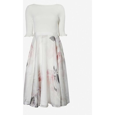 Bouquet-print crepe midi dress