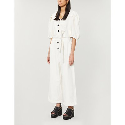 Abby puffed-sleeve linen and cotton-blend jumpsuit