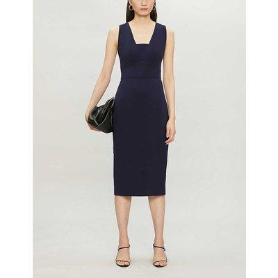 Sleeveless stretch-woven midi dress