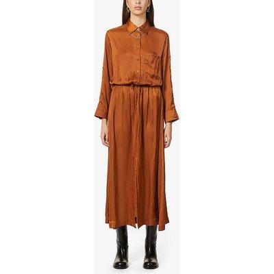 Radial drawstring-waist satin-crepe midi dress
