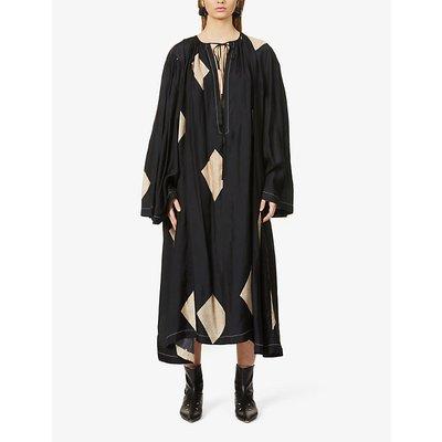 Arlene abstract-pattern satin maxi shift dress
