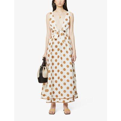 V-neck polka dot-print linen maxi dress