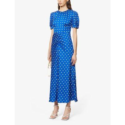 Polka dot-print satin midi dress
