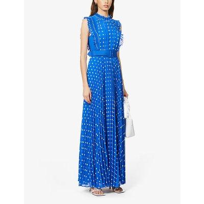 Polka dot-print pleated crepe maxi dress