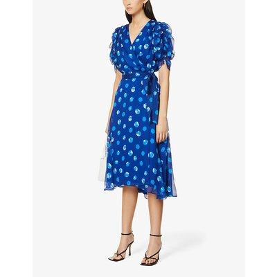 Kimora polka dot-print wrap crepe midi dress