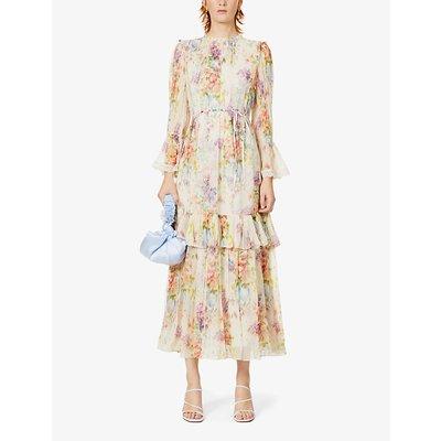 Metallic floral-pattern chiffon maxi dress