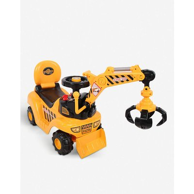 2 in 1 ride-on toy digger excavator grabber bulldozer with helmet