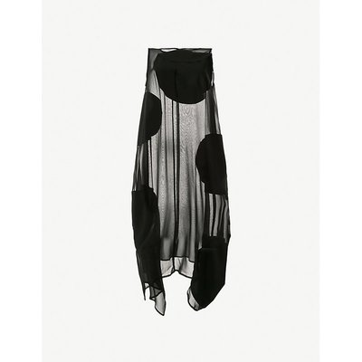 Elliptical polka-dot semi-sheer cotton and silk-blend midi dress