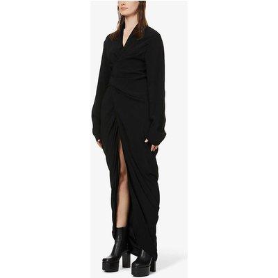 V-neck long-sleeved crepe maxi dress