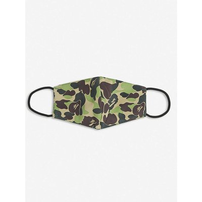 Camouflage-print woven face covering