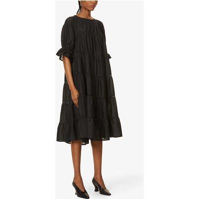 Paradis lace-trim cotton midi dress