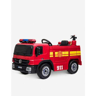 Battery-powered ride-on fire engine toy