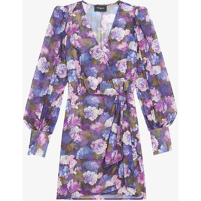 V-neck floral-print crepe dress