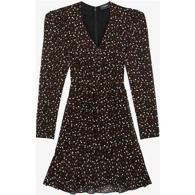 Polka-dot woven midi dress