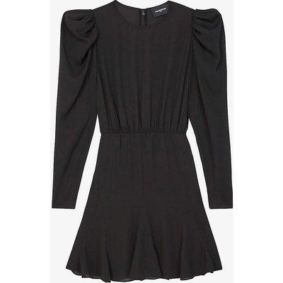 Puffed-sleeve crepe dress