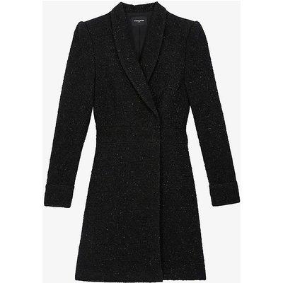 Suit jacket-style tweed midi dress