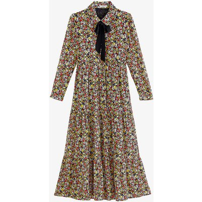 Floral-print crepe maxi dress