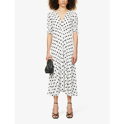 Meja polka dot-print woven midi dress