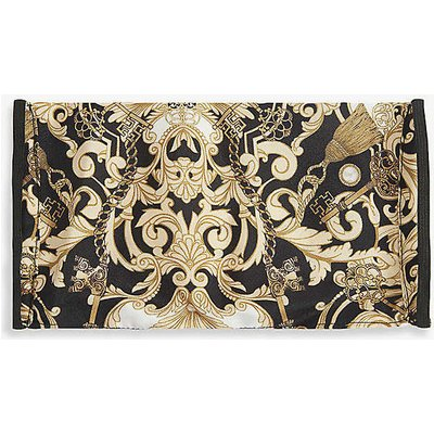 Emily Carter Ladies Black and Gold Baroque-Print Silk Face Covering Mask
