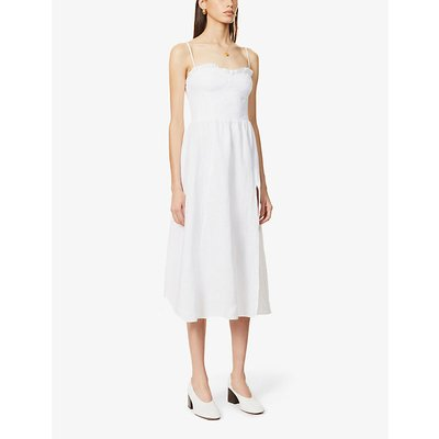 Prune frill-trim linen midi dress