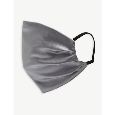 Unttld Ladies Silver Pleated Satin Face Covering Mask