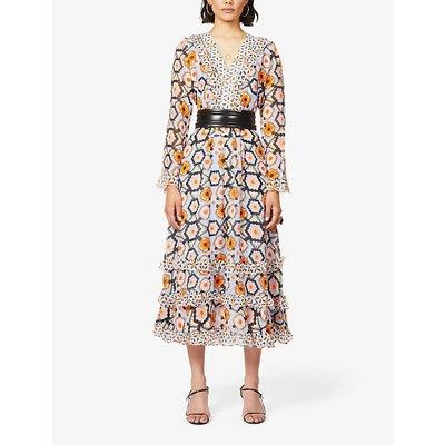 Geometric-print silk-crepe midi dress