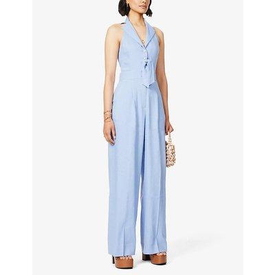 Sophia sleeveless linen-blend jumpsuit