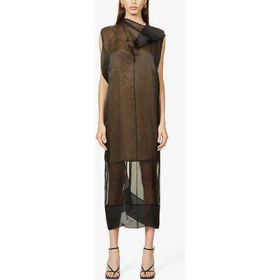 Semi-sheer draped silk organza midi dress
