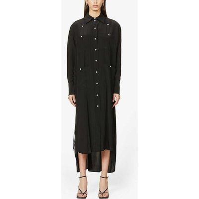 Split-side silk-crepe shirt maxi dress
