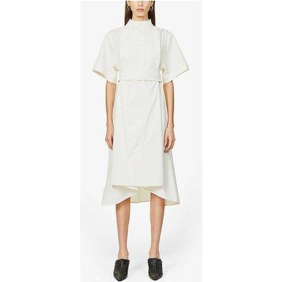 Short-sleeve cotton-pique midi dress