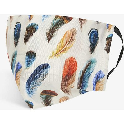Feather-print silk face covering