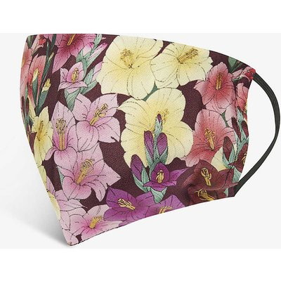 Floral-print silk face covering