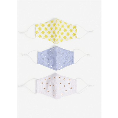 Embellished cotton face covering set of three