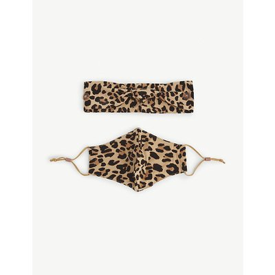 Leopard-print cotton headband and face covering set