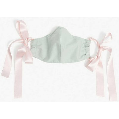 Upcycled ribbon-strap organic-cotton face covering