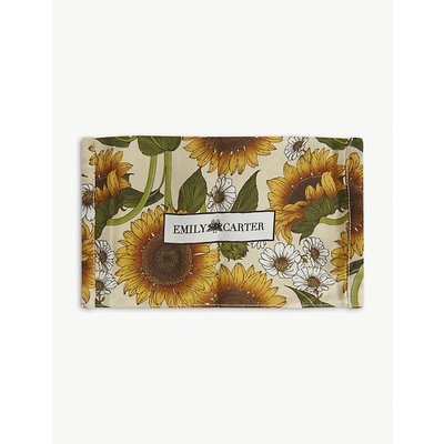 Sunflower-print silk face covering