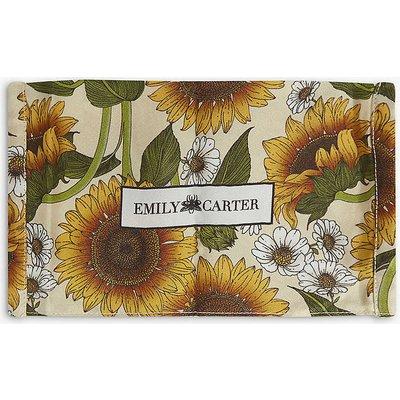 Sunflower-print silk face covering