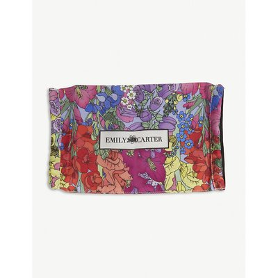 Flower garden-print silk face covering