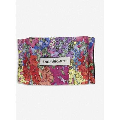 Flower garden-print silk face covering