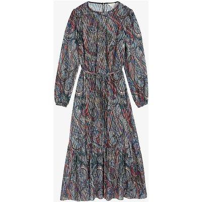 Lantern graphic-print woven midi dress