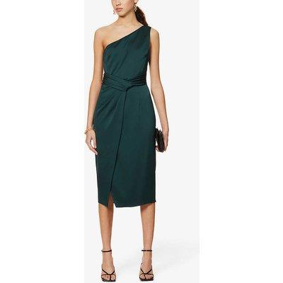Zaaraa one-shoulder satin-crepe midi dress