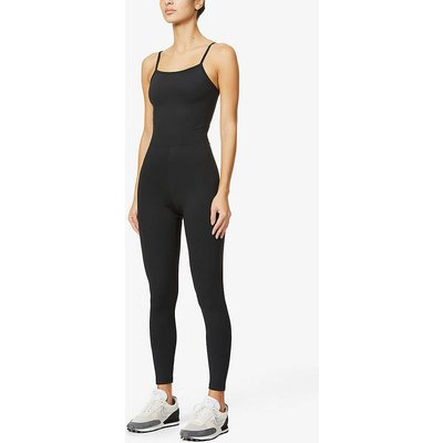 Square-neck stretch-recycled polyester jumpsuit