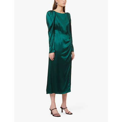 Cameron puff-shoulder silk midi dress