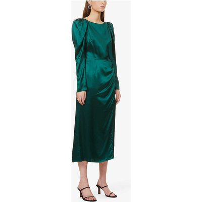Cameron puff-shoulder silk midi dress